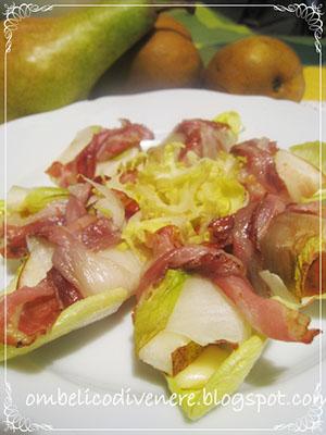 nodini di pancetta, indivia e pere