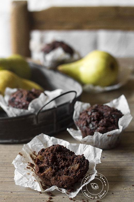 muffin cioccolato pere e zenzero al farro integrale4