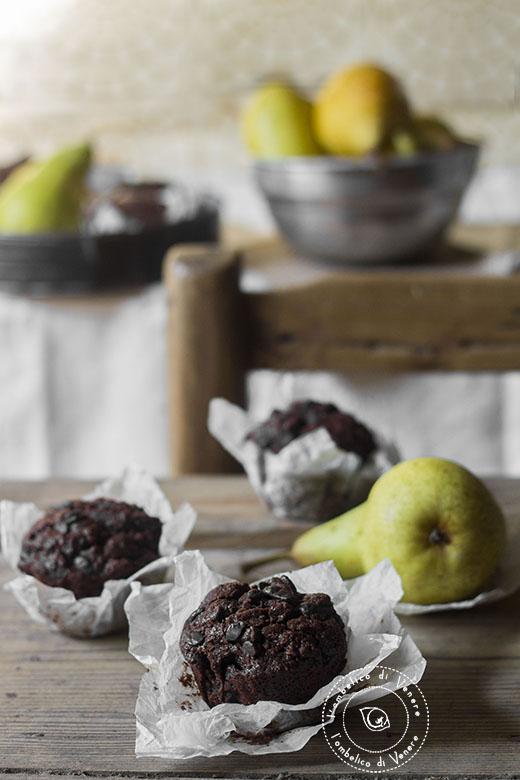 muffin cioccolato pere e zenzero al farro integrale5