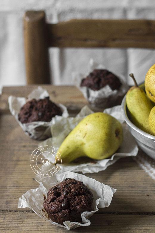 muffin cioccolato pere e zenzero al farro integrale6