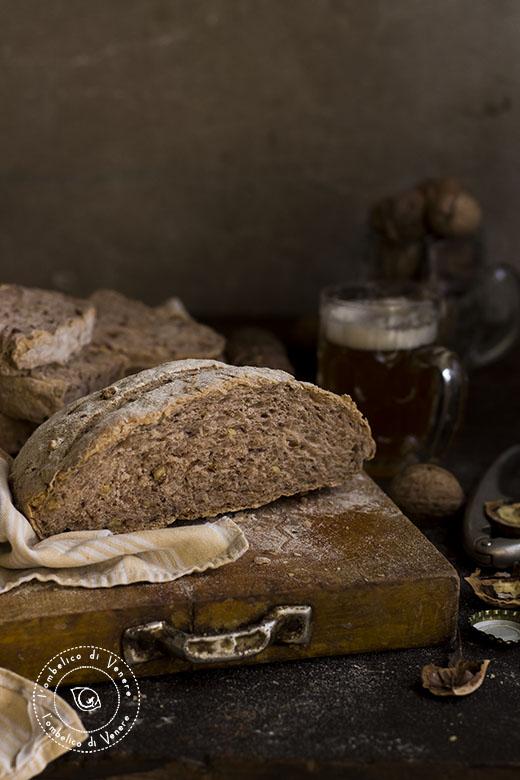 pane semi integrale alla birra e noci