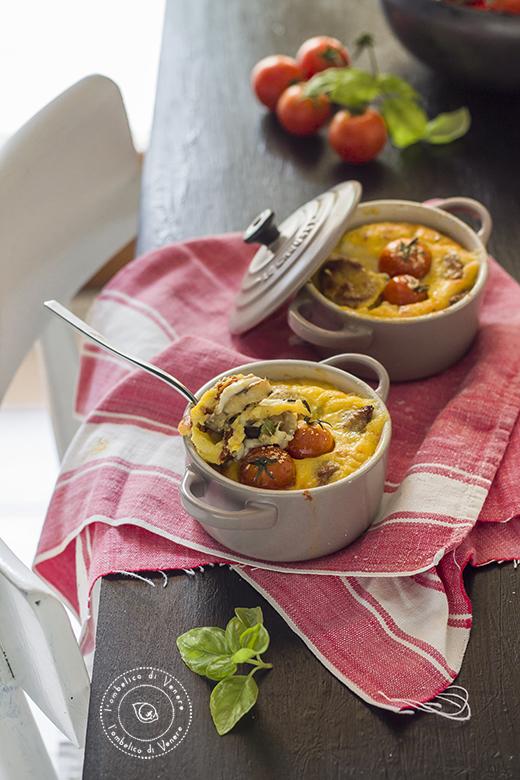 clafoutis salato in cocotte con bufala e melanzane 6