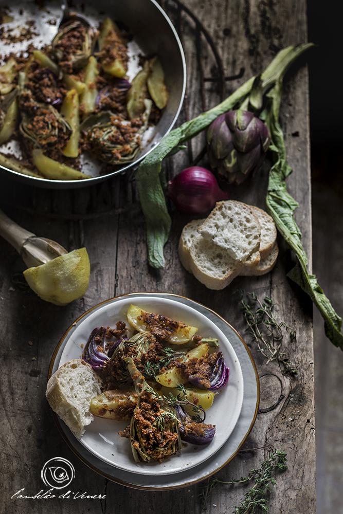 patate carciofi e cipolle gratinate al forno