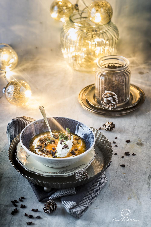 zuppa di cachi piccante ai cinque sensi