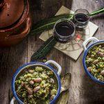 Zuppa verde con borlotti e cereali decorticati